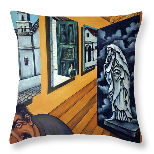 Surreal Throw Pillow featuring the painting Asylum by Valerie Vescovi