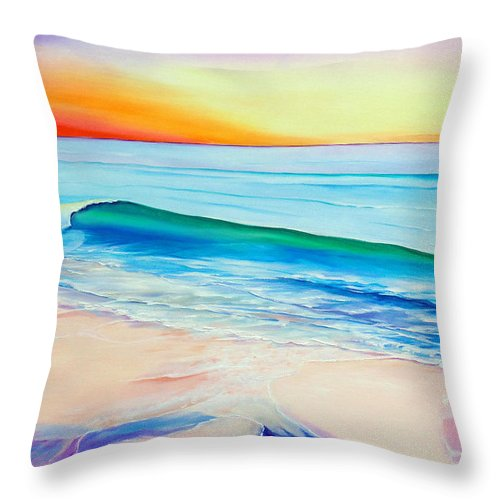 Sunset Painting Sea Painting Beach Painting Sunset Painting  Waves Painting Beach Painting Seaside Painting Seagulls Painting Throw Pillow featuring the painting At The End Of A Perfect Day by Karin Dawn Kelshall- Best