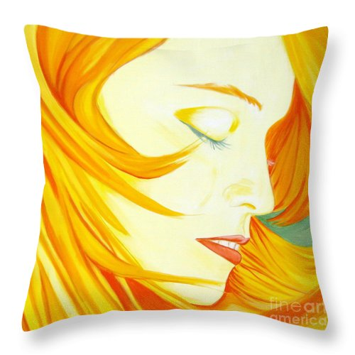 Madonna Throw Pillow featuring the painting Aura by Holly Picano
