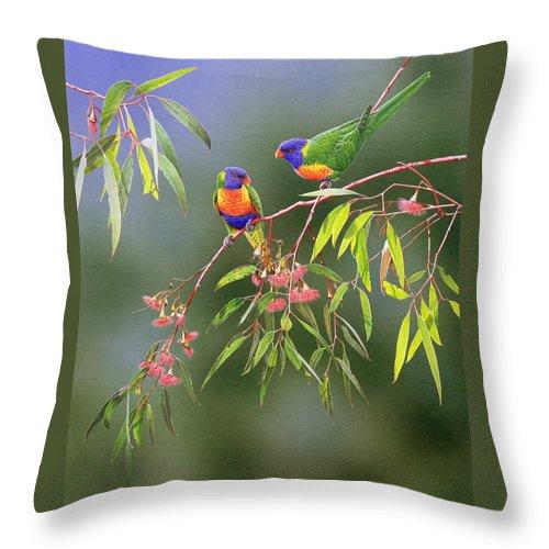 Bird Throw Pillow featuring the painting Australian Eden - Rainbow Lorikeets by Frances McMahon