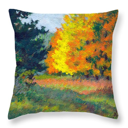Landscape Throw Pillow featuring the painting Autumn Etude by Keith Burgess