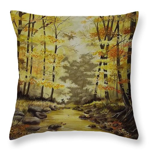 Landscape Throw Pillow featuring the painting Autumn in Tennessee by Wanda Dansereau