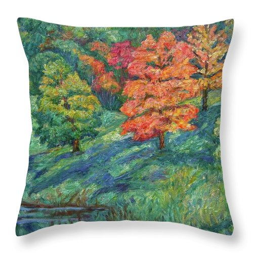Landscape Throw Pillow featuring the painting Autumn Pond by Kendall Kessler