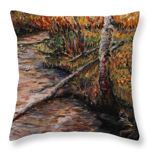 Landscape Throw Pillow featuring the painting Autumn Reflections by Nadine Rippelmeyer
