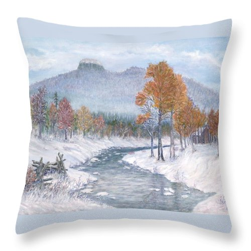 Snow Throw Pillow featuring the painting Autumn Snow by Ben Kiger
