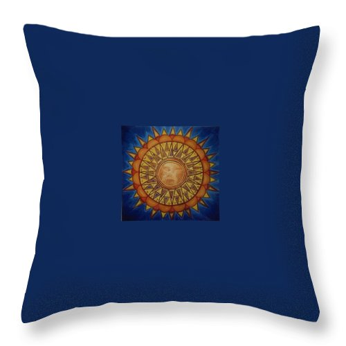 Jandrel Throw Pillow featuring the painting Aztec Sun by J Andrel