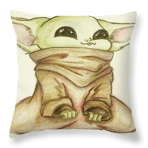 Baby Throw Pillow featuring the drawing Baby Yoda by Tejay Nichols