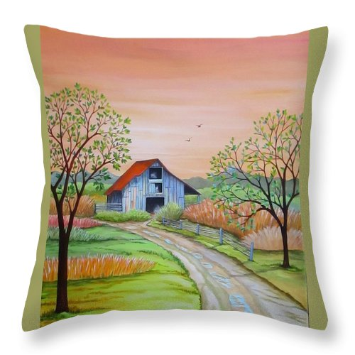 Original Throw Pillow featuring the painting Back to the Barn by Carol Sabo