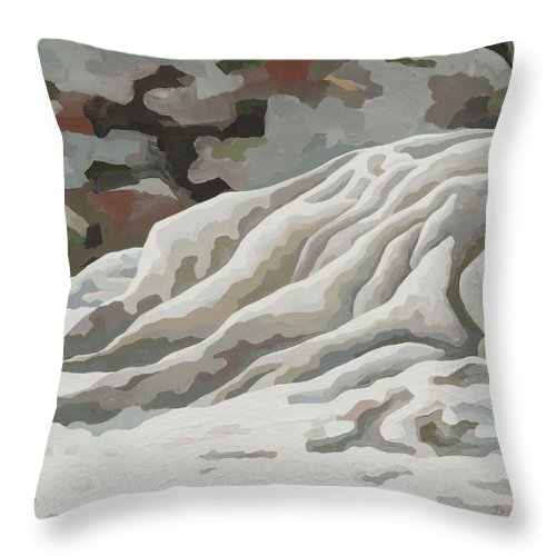 Makoshika State Park Throw Pillow featuring the painting Badlands #11 by Dale Beckman