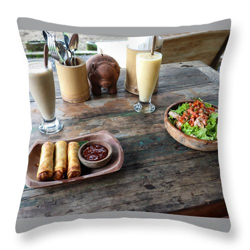 Indonesia Throw Pillow featuring the digital art Balinese dinner by Worldvibes1