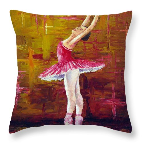 Ballet Throw Pillow featuring the painting Ballerina by David G Paul