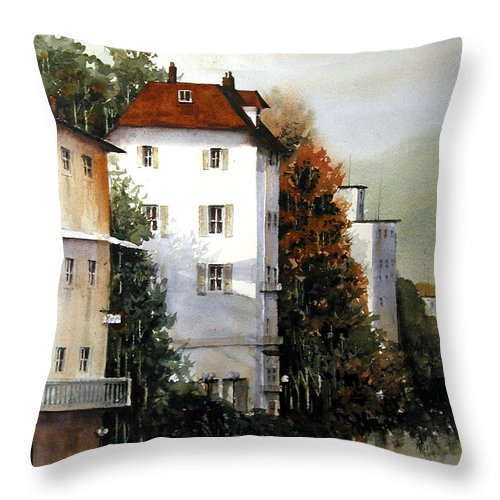 Rhine Throw Pillow featuring the painting Banks Of The Rhine by Charles Rowland