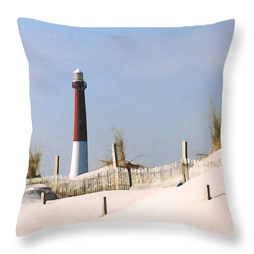 Barnegat Throw Pillow featuring the photograph Barnegat Lighthouse by Steve Karol