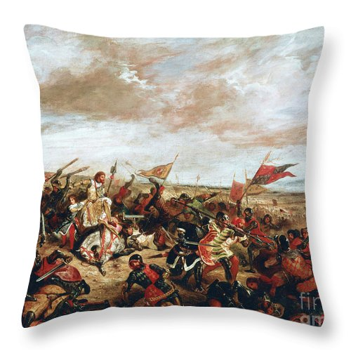 Poitiers Throw Pillow featuring the painting Battle of Poitiers on September 19, 1356 by Ferdinand Victor Eugene Delacroix