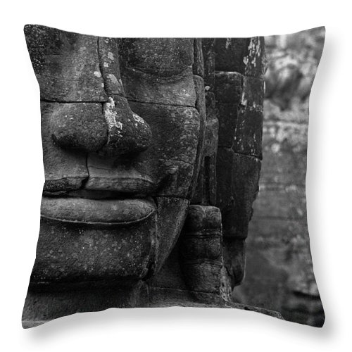 Bayon Throw Pillow featuring the photograph Bayon Temple - Angkor by Patrick Klauss