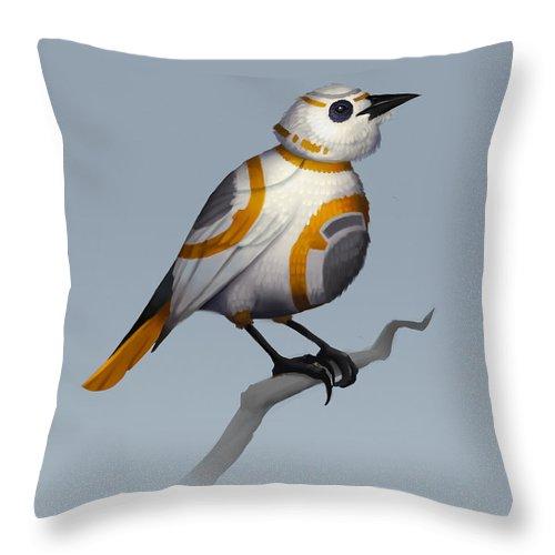 Birds Throw Pillow featuring the digital art BB Bird by Michael Myers