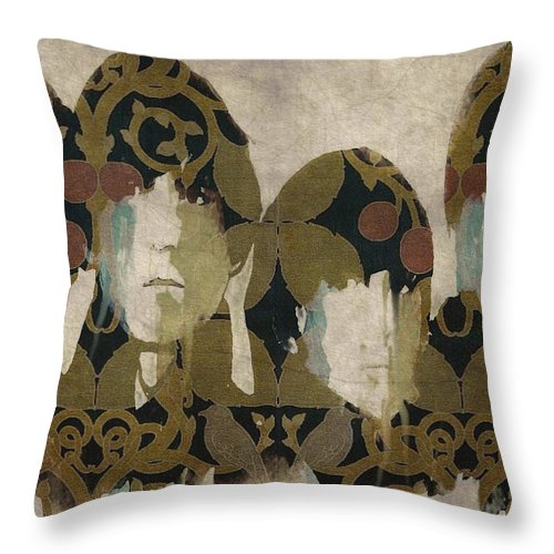 The Beatles Throw Pillow featuring the mixed media Beatles For Sale by Paul Lovering