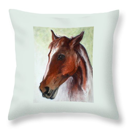 Horse Throw Pillow featuring the drawing Becky by Cori Solomon