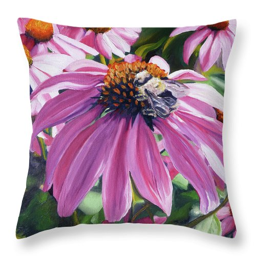 Bee Throw Pillow featuring the painting Bee Conscious by Brittany Bert Selfe