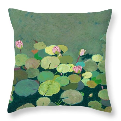 Landscape Throw Pillow featuring the painting Bettys Serenity Pond by Allan P Friedlander