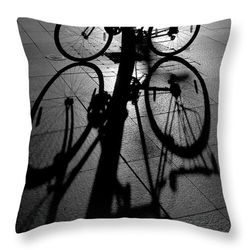 Bicycle Throw Pillow featuring the photograph Bicycle shadow by Sheila Smart Fine Art Photography