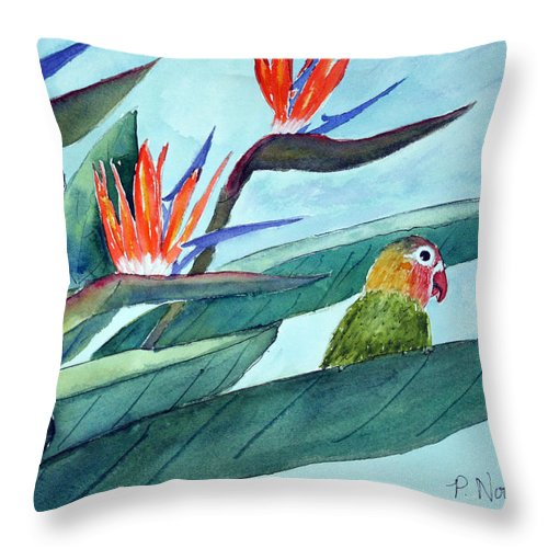 Bird Throw Pillow featuring the painting Bird In Paradise by Patricia Novack