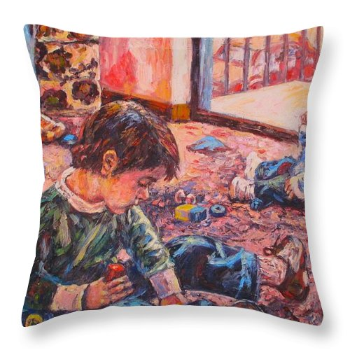 Figure Throw Pillow featuring the painting Birthday Party or a Childs View by Kendall Kessler