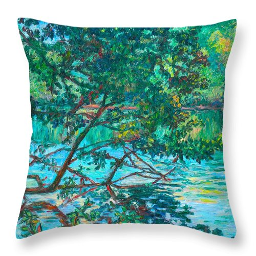 Landscape Throw Pillow featuring the painting Bisset Park by Kendall Kessler
