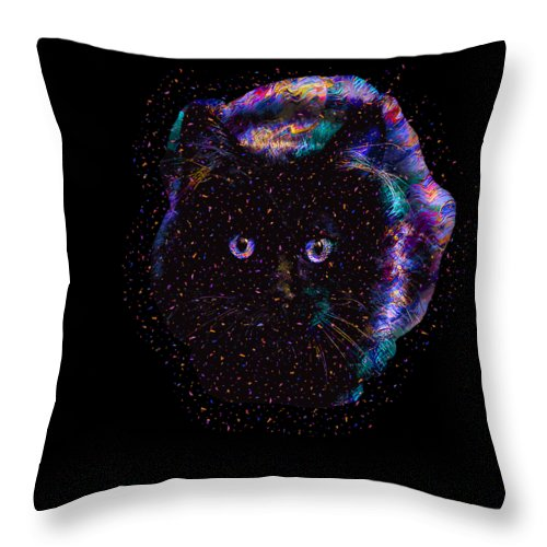 Cat Throw Pillow featuring the digital art Black Abstract Cat by Trindira A