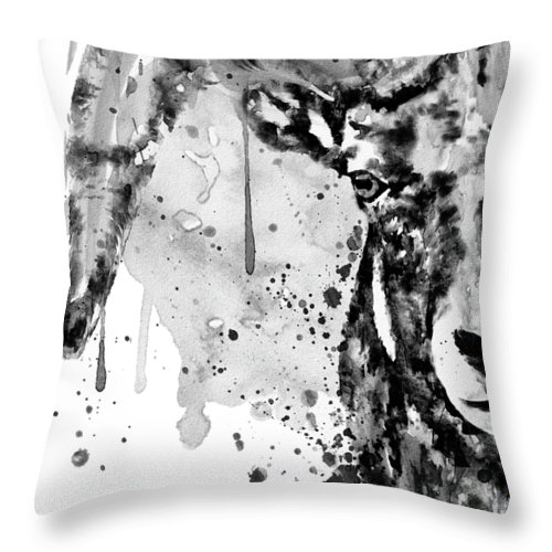Black And White Throw Pillow featuring the painting Black And White Half Faced Bighorn Sheep by Marian Voicu