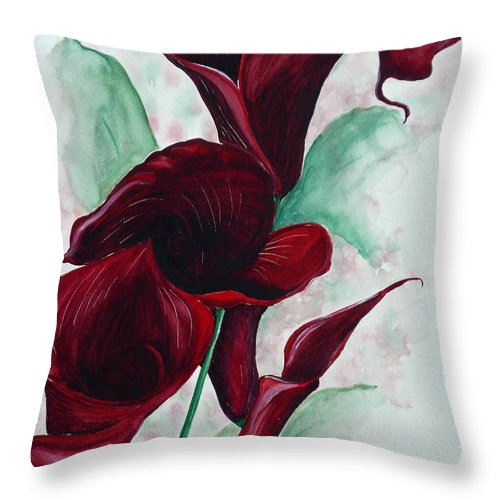 Flower Painting Floral Painting Botanical Painting Tropical Painting Caribbean Painting Calla Painting Red Lily Painting Deep Red Calla Lilies Original Watercolor Painting Throw Pillow featuring the painting Black Callas by Karin Dawn Kelshall- Best