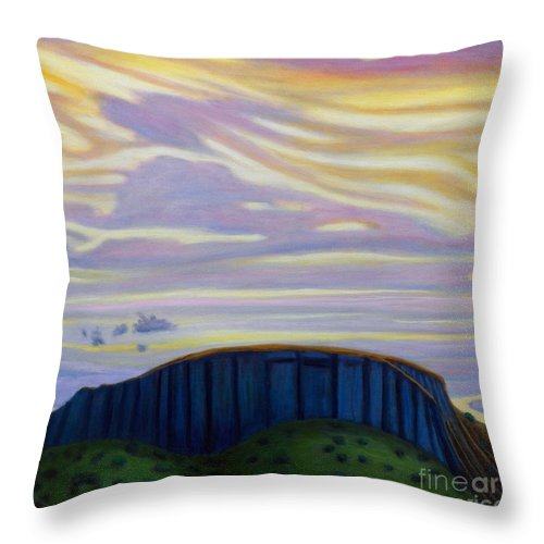 Black Mesa Throw Pillow featuring the painting Black Mesa by Brian Commerford