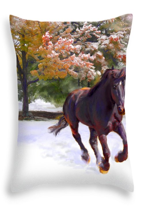 Horse Throw Pillow featuring the painting Black Stallion In Fall Snow Fantasy Art by Connie Moses