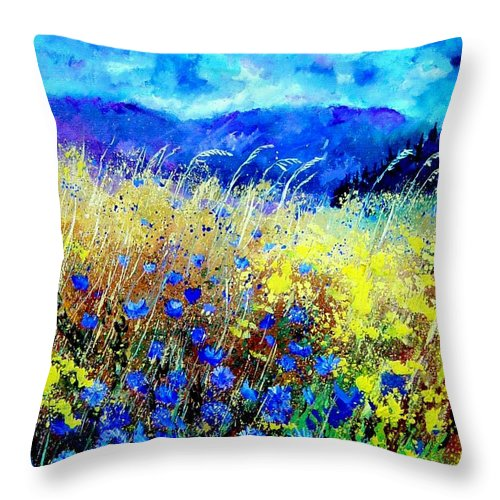 Poppies Throw Pillow featuring the painting Blue cornflowers 67 by Pol Ledent