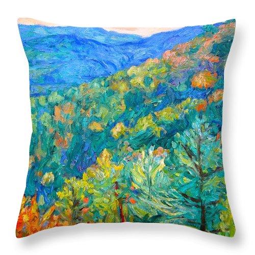 Blue Ridge Mountains Throw Pillow featuring the painting Blue Ridge Autumn by Kendall Kessler