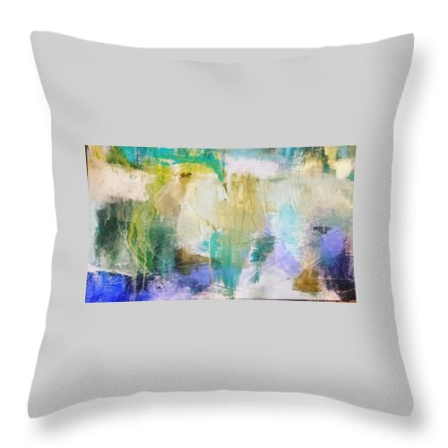 Abstract Throw Pillow featuring the painting Blue, White, Gold by Patricia Byron