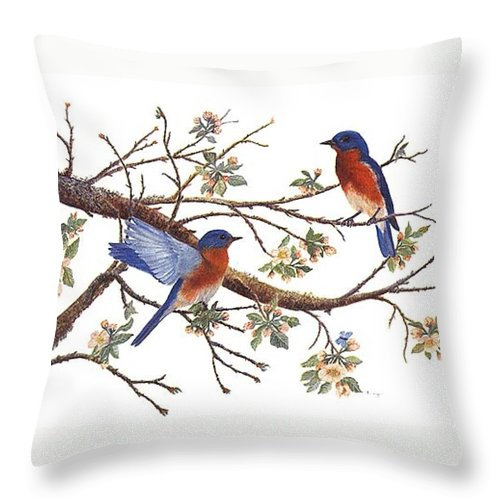 Bluebirds Throw Pillow featuring the painting Bluebirds And Apple Blossoms by Ben Kiger
