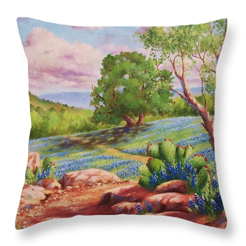 Bluebonnet Throw Pillow featuring the painting Bluebonnet Trail by David G Paul