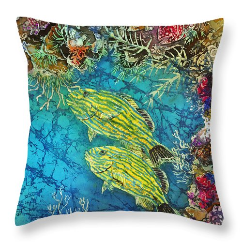 Ocean Throw Pillow featuring the painting Bluestriped Grunts Pair by Sue Duda