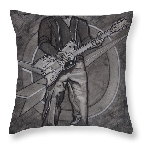 Texas Throw Pillow featuring the drawing Bo Diddley - Have Guitar Will Travel by Sean Connolly
