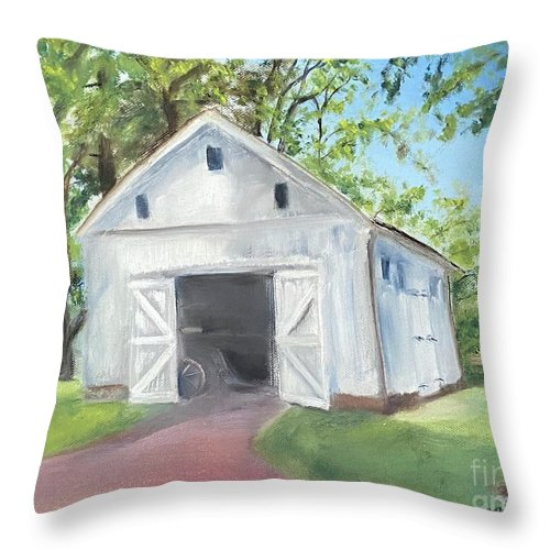 Washington Crossing Throw Pillow featuring the painting Boat Barn by Sheila Mashaw
