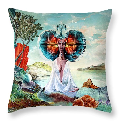 Surrealism Throw Pillow featuring the painting Bogomils Landing by Otto Rapp