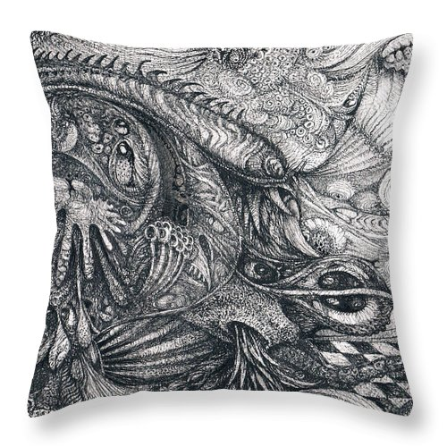 Bogomils Ossuary Throw Pillow featuring the drawing Bogomil's Ossuary by Otto Rapp