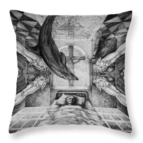 Surrealism Throw Pillow featuring the drawing Botticellis Dream by Otto Rapp