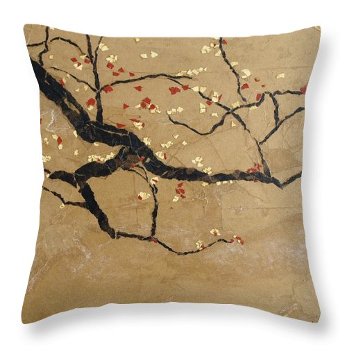 Blooming Branch Throw Pillow featuring the painting Branch by Leah Tomaino