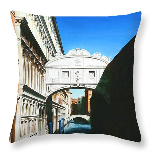 Bridge Of Sighs Throw Pillow featuring the painting Bridge Of Sighs Venice Italy by Gary Hernandez