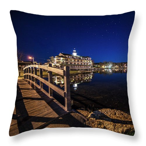 Bridge Throw Pillow featuring the photograph Bridge Over The Bay - Meredith, NH by Trevor Slauenwhite
