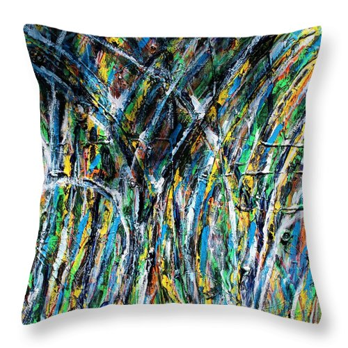 Blue Throw Pillow featuring the painting Bright Summer Day by Pam Roth O'Mara