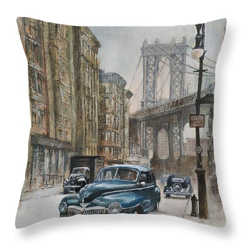 Blue Car Throw Pillow featuring the painting Brooklyn bridge by Tomas Castano