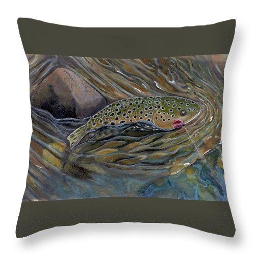 Rick Huotari Throw Pillow featuring the painting Brown II by Rick Huotari